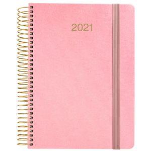 Agenda anual 2021 metalic rosa tela dia pagina 15x21