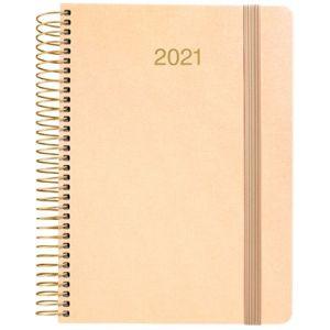Agenda anual 2021 metalic oro tela dia pagina 15x21