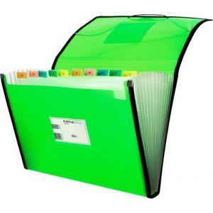 Carpeta fuelle fº verde polipropileno 13 departamentos con ribete
