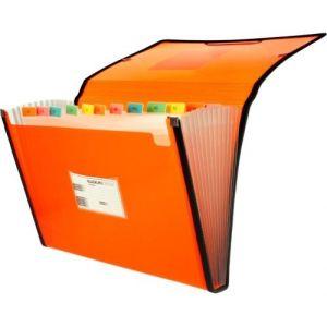 Carpeta fuelle Fº naranja polipropileno 13 departamentos con ribete