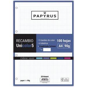 Recambio uni5 a4 100h 90g 4 taladros cuadricula 5x5 5 colores de banda tonos vivos