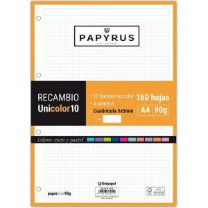 Recambio uni10 a4 160h 90g 4 taladros cuadricula 5x5 10 colores de banda tonos vivos y pastel