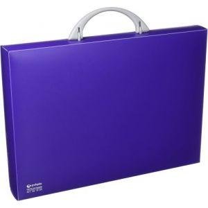 Carpeta portadocumentos polipropileno violeta 345x245x40 mm. con asa abatible y broche.