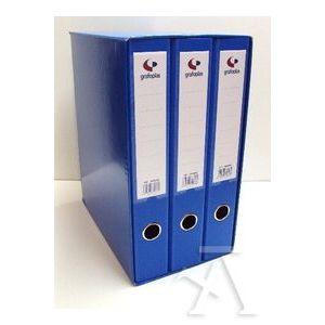 Modulo 3 archivadores fº 2 anillas 40mm carton forrado en pp grafcolor azul