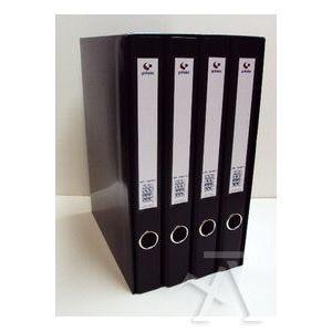 Modulo 4 archivadores fº 2 anillas 25mm carton forrado en pp grafcolor negro