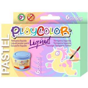 Estuche 6 tempera liquida playcolor 40ml colores pastel