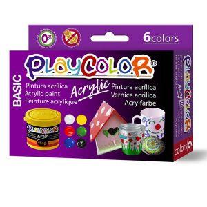 Pintura playcolor acrylic basic 6 x 40 ml surtido y pincel