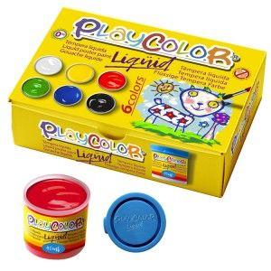 Estuche 6 tempera liquida playcolor 40ml. colores surtidos con pincel