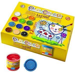 Estuche 12 tempera liquida playcolor 40ml. colores surtidos con pincel