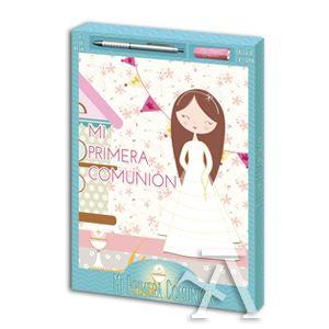 set regalo Libro comunion niña + boligrafo + bateria externa
