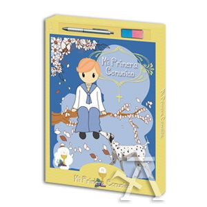 Libro comunion + tampon de huellas niño con boligrafo