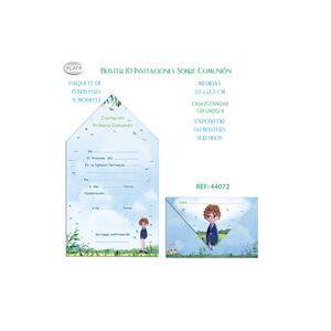 BLISTER 10 INVITACION SOBRE COMUNION NIÑA BICI