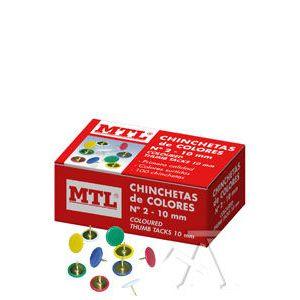 C/10 CAJAS 100 CHINCHETAS DE COLORES Nº2 10MM MTL