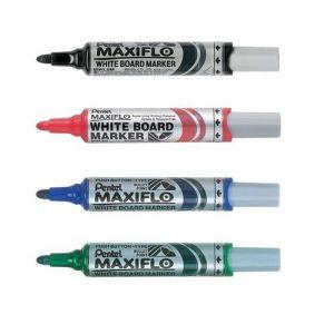 Estuche 4 rotuladores pizarra maxiflo punta conica colores negro, azul, rojo y verde.