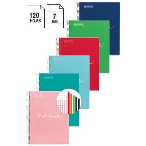 Paq/6 notebook5 a4 120h 1horizontal microperforado colores surtidos tapa extradura