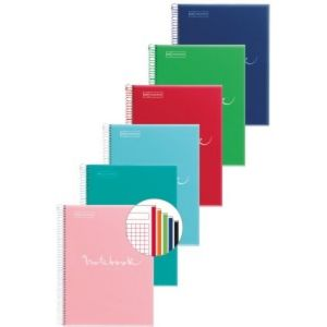 Paq/5 notebook 5 a5 120h 90g cuad.5x5 micropereforado colores surtidos polipropileno