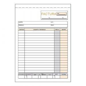 Paq/10 talonario de facturas con i.g.i.c. 1/4 natural duplicado autocopiativo