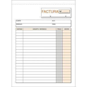 Paq/5 talonarios de facturas con i.g.i.c. 1/4 natural triplicado autocopiativo