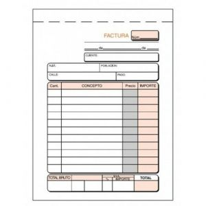 Paq/5 talonarios facturas con i.g.i.c. 1/8 natural triplicado autocopiativo