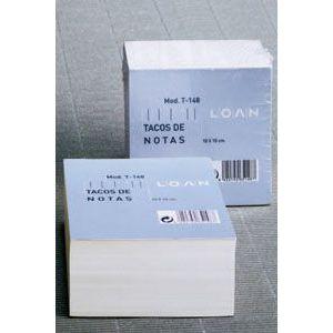 Taco de notas 500h liso 10x10cm encolado no adhesivo