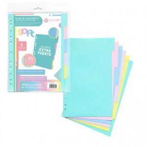 Bolsa separadores a4 soft extra-fuerte 6 pestañas colores pastel multitaladro