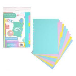 Bolsa separadores a4 soft extra-fuerte 10 pestañas colores pastel multitaladro