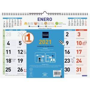 Calendario pared color mixto l 43x31 2021