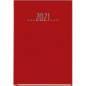 Agenda anual 2021 praxis rojo 14,5x21cm dia pagina tapa dura