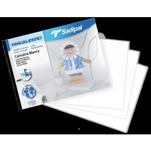Bloc manualidades 10 cartulinas blancas 32x24cm premium Sadipal