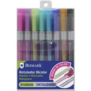 Estuche 8 rotuladores doble linea  plata + neon-pastel Bismark