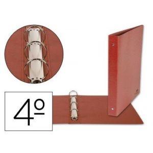 C/10 carpetas 4º 4 anillas 25mm carton cuero