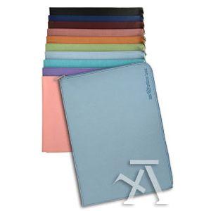 Paq/10 carpeta dossier acabado en simil piel con cremallera colores surtidos 335x240 mm.