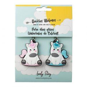 Pack 2 llaveros rubber unicornio