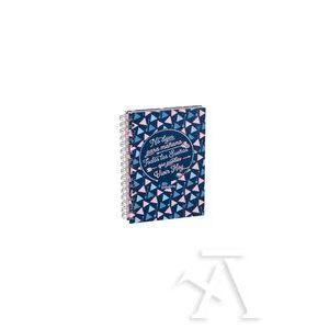 cuaderno espiral a5 con goma 120 hojas estampado triángulos ls violeta