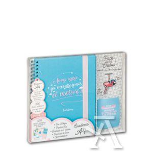 Pack cuaderno a4+llavero+tarjeta regalo ahora sonrie, ya encontraremos el motivo