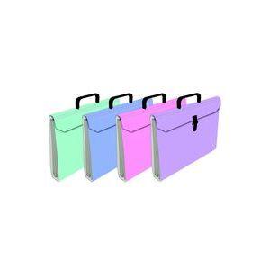 Paq/4 maletin fuelle fº acordeon 6 bolsas carton plastificado colores surtidos
