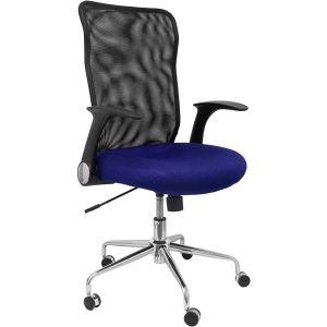 Silla con ruedas minaya respaldo malla negro asiento 3d azul