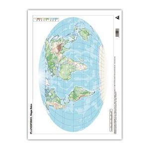Paq/50 mapas planisferio fisico a3 mudos