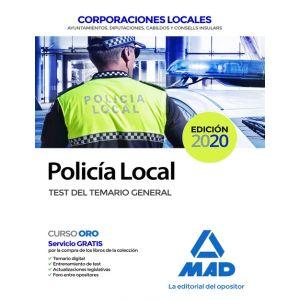 POLICIA LOCAL TEST TEMARIO GENERAL COORPORACIONES LOCALES